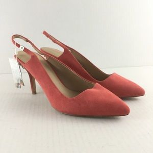 Zara Slingback Pumps Coral Pointed Toe Shoes Suede